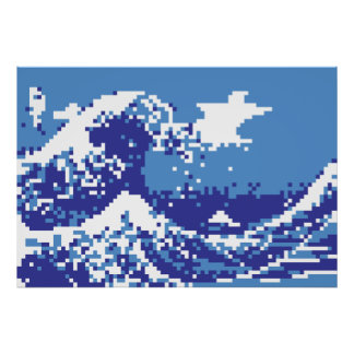 Pixel Tsunami Blue 8 Bit Pixel Art Poster
