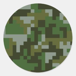 Pixel Woodland Camouflage pattern Classic Round Sticker
