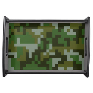 Pixel Woodland Camouflage pattern Serving Tray