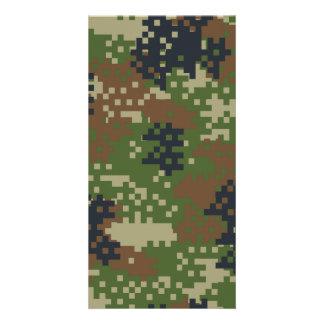 Pixel Woodland Camouflage Personalised Photo Card