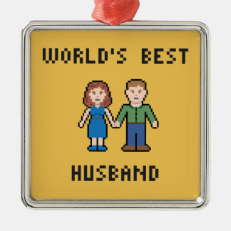 Pixel World's Best Husband Ornament