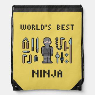 Pixel World's Best Ninja Drawstring Bag