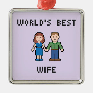 Pixel World's Best Wife Ornament Silver-Colored Square Ornament