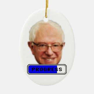 Pixelated Bernie Sanders - PROGRESS Ceramic Ornament