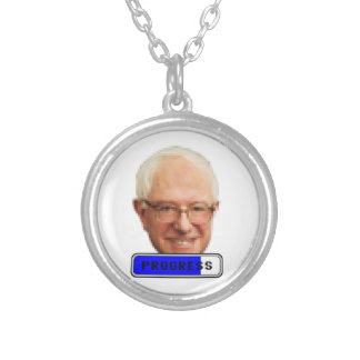 Pixelated Bernie Sanders - PROGRESS Silver Plated Necklace