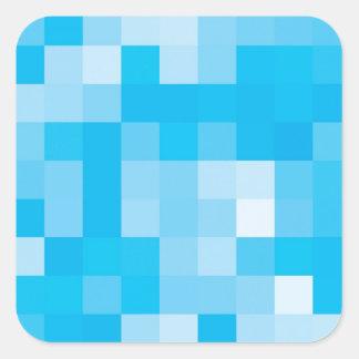 Pixelated Blue Square Sticker