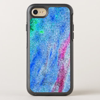 Pixelated green blue and pink sparkle wave design. OtterBox symmetry iPhone 8/7 case