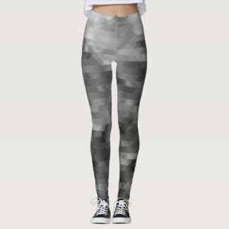 Pixelated Patterned Leggings- Silver/Black/White Leggings