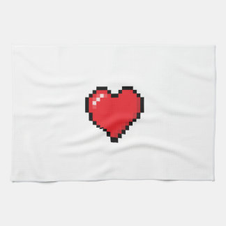 Pixelated red video game heart towels