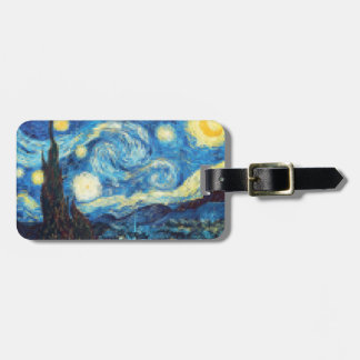 Pixelated Starry Night by Van Gogh Luggage Tag