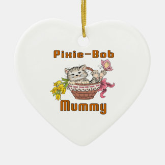Pixie-Bob Cat Mom Ceramic Heart Decoration