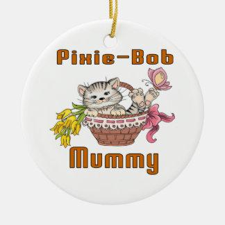 Pixie-Bob Cat Mom Round Ceramic Decoration