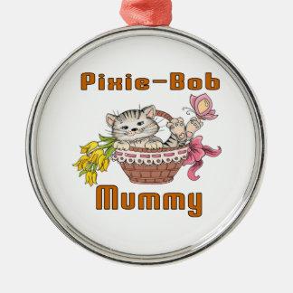 Pixie-Bob Cat Mom Silver-Colored Round Decoration