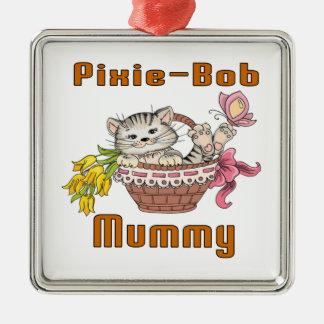 Pixie-Bob Cat Mom Silver-Colored Square Decoration