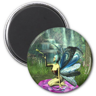 Pixie freeing a frog 6 cm round magnet