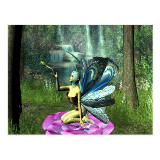 Pixie freeing a frog postcard