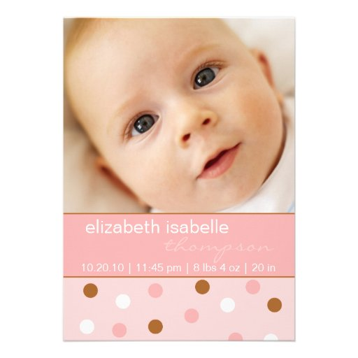 Pixie Pink Polka Dot Baby Girl Photo Announcement