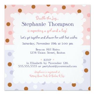 Pixie Polka Dot Twins Baby Shower Invitation