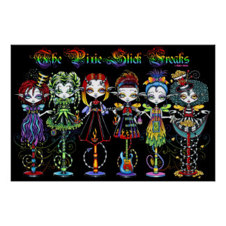 Pixie Stick Freaks Rainbow Sideshow Circus Fairies Poster