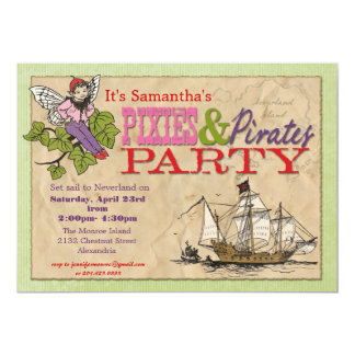 Pixies and Pirates Party Invitation