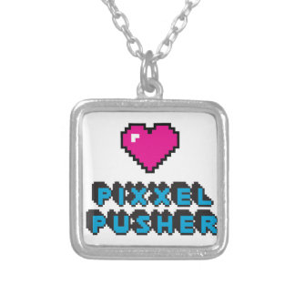 pixxel pusher silver plated necklace