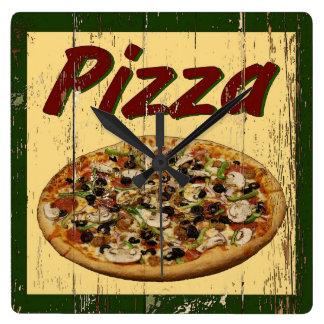 Pizza 1 square wall clock