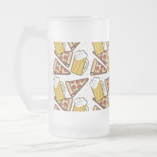Pizza and Beer Lover Frosted Glass Beer Mug