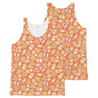 Pizza And Drinks Pattern All-Over Print Singlet