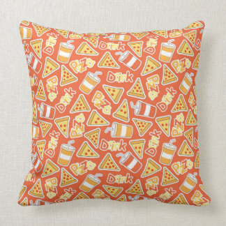 Pizza And Drinks Pattern Cushion
