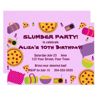 Pizza and Pajama Party Card