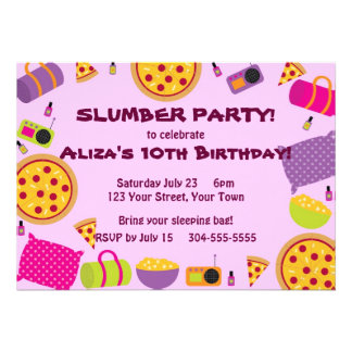 Pizza and Pajama Party Custom Invites