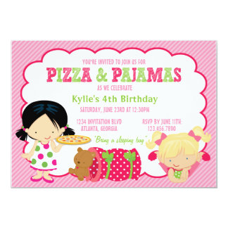 Pizza and Pajamas Sleepover Party 13 Cm X 18 Cm Invitation Card