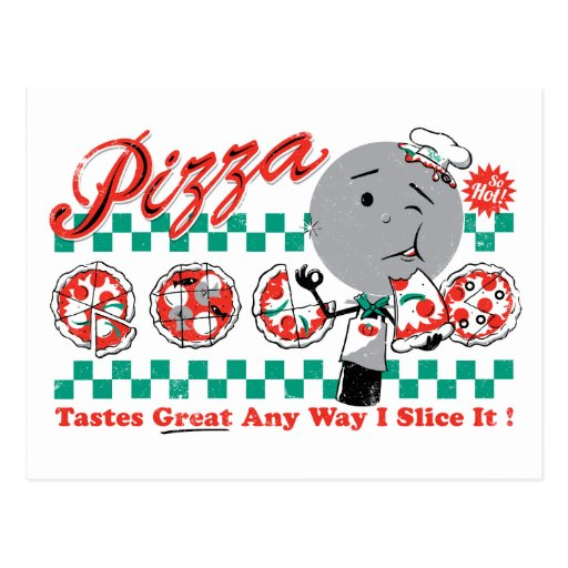 Pizza Any Way I Slice It Retro Postcard CUSTOMIZE