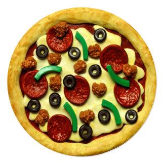 Pizza Birthday Party 13 Cm X 13 Cm Square Invitation Card