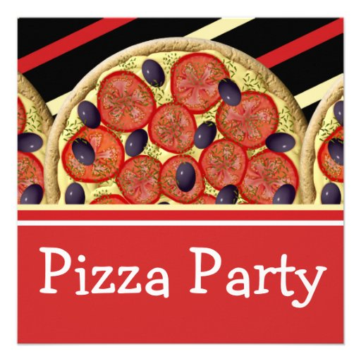 Pizza birthday party boys girls announcements