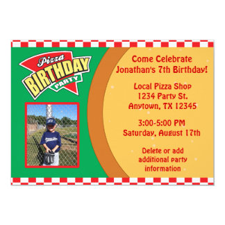 Pizza Birthday Party Invitation with Photo