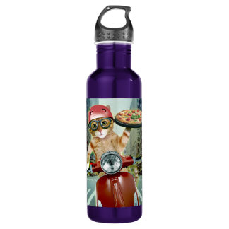 pizza cat - cat - pizza delivery 710 ml water bottle