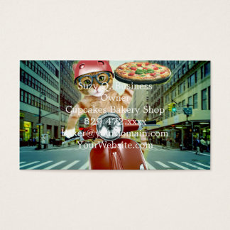 pizza cat - cat - pizza delivery business card