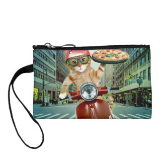 pizza cat - cat - pizza delivery coin purse