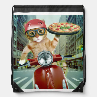 pizza cat - cat - pizza delivery drawstring bag