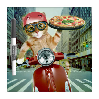 pizza cat - cat - pizza delivery dry erase board
