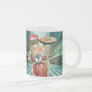 pizza cat - cat - pizza delivery frosted glass coffee mug