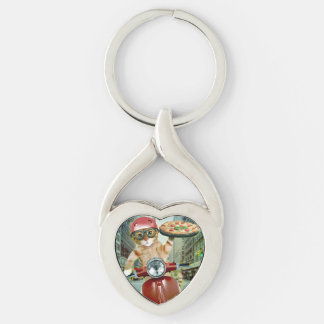 pizza cat - cat - pizza delivery key ring
