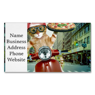 pizza cat - cat - pizza delivery Magnetic business card