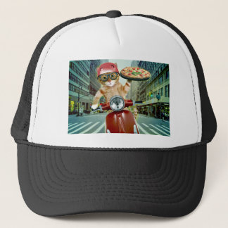 pizza cat - cat - pizza delivery trucker hat