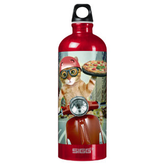 pizza cat - cat - pizza delivery water bottle