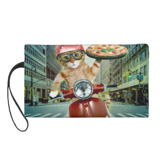 pizza cat - cat - pizza delivery wristlet