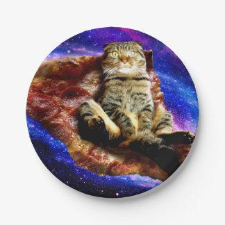 pizza cat - crazy cat - cats in space 7 inch paper plate