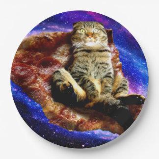 pizza cat - crazy cat - cats in space 9 inch paper plate