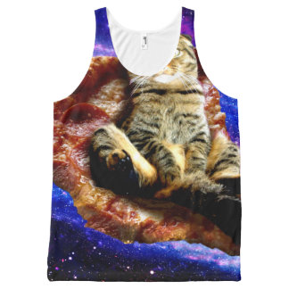 pizza cat - crazy cat - cats in space All-Over print singlet